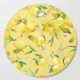 Watercolor lemons 5 Cutting Board
