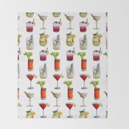Classic Cocktails Pattern - Classic Cocktails series Throw Blanket