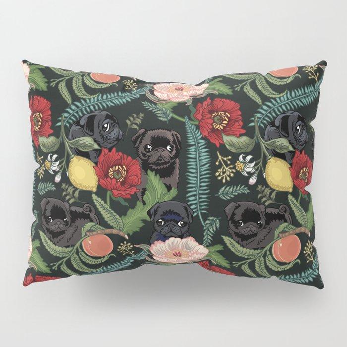 Botanical and Black Pugs Pillow Sham