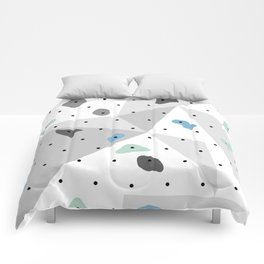 Abstract geometric climbing gym boulders blue mint Comforters