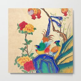 Minhwa: Birds and Peony (Korean traditional/folk art) Metal Print