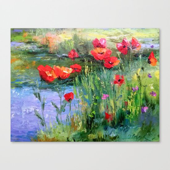 Poppies in a field near a pond Canvas Print