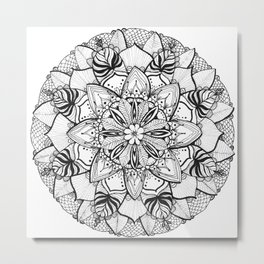 Tropical Floral Mandala Metal Print