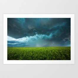 April Showers - Colorful Stormy Sky Over Lush Field in Kansas Art Print