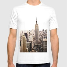 New York City Skyline White 2X-LARGE Mens Fitted Tee
