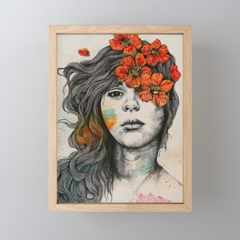 Softly Spoken Agony | flower girl pencil portrait Framed Mini Art Print