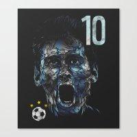 messi Canvas Prints featuring Messi by dan elijah g. fajardo
