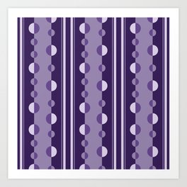Modern Circles and Stripes in Violet Art Print