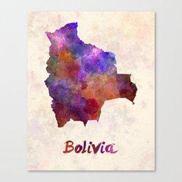 Bolivia in watercolor Canvas Print