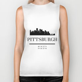 PITTSBURGH PENNSYLVANIA BLACK SILHOUETTE SKYLINE ART Biker Tank