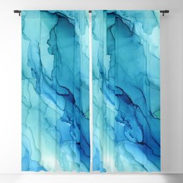 Emerald Sea Waves - Abstract Ombre Flowing Ink Blackout Curtain