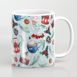 New Year's sweets, teapot, pudding, snowman, berries, holly, cones, spruce branches, tangerines Coffee Mug