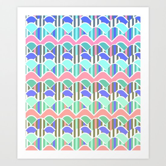 Colorful waves- upside down Art Print