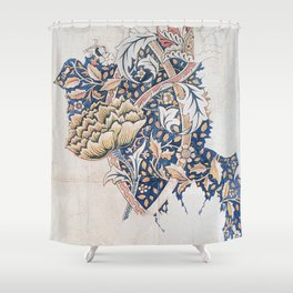 Design for Windrush by William Morris 1883 // Romanticism Blue Red Yellow Color Filled Floral Design Shower Curtain