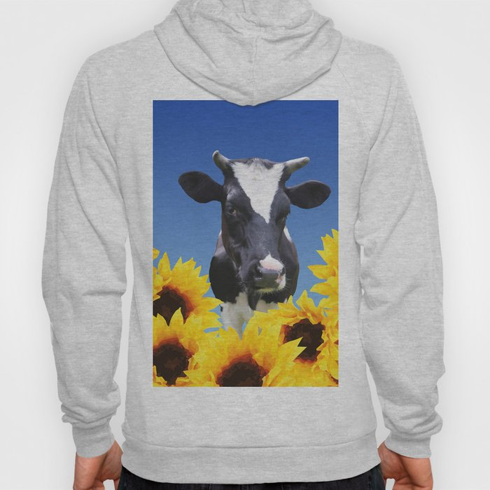 Cow black and white with sunflowers Hoody