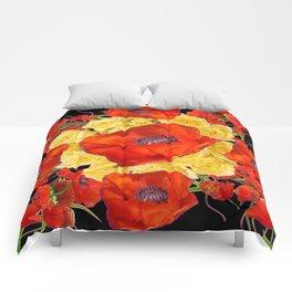 ORANGE POPPIES FLORAL & YELLOW ROSES BLACK ART Comforters
