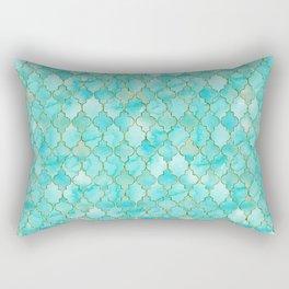 Luxury Aqua Teal and Gold oriental quatrefoil pattern Rectangular Pillow
