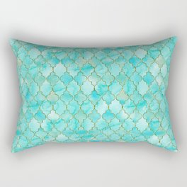 Luxury Aqua Teal and Gold oriental quatrefoil pattern Rectangular Pillow