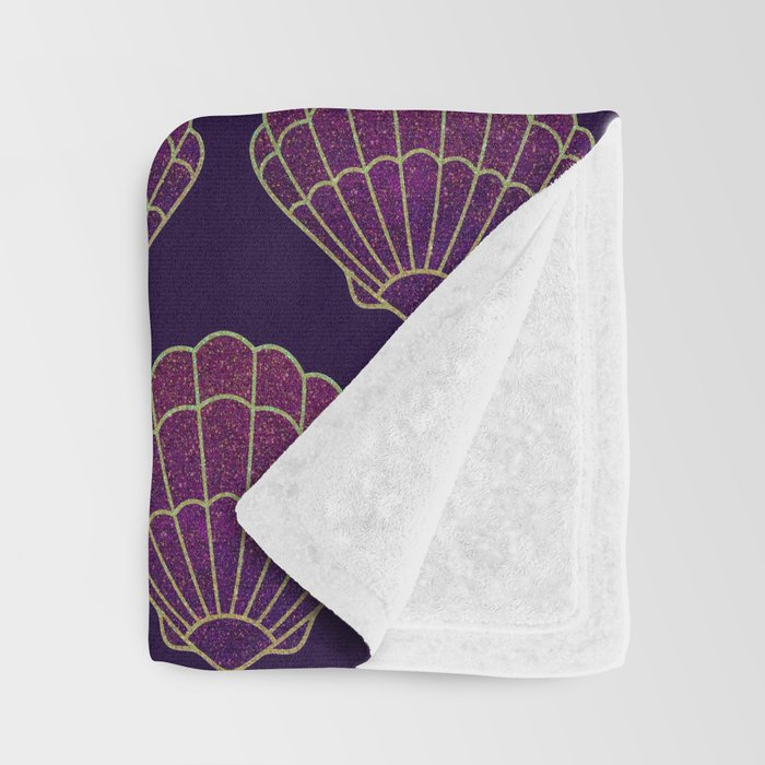 Violet & Gold Scallop Shell Pattern Throw Blanket