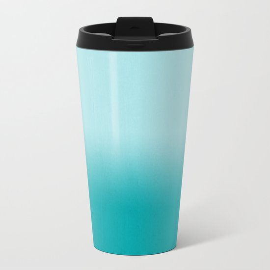 Ombre fade pastel blue trendy color way throwback retro palette 80s 90s style Metal Travel Mug