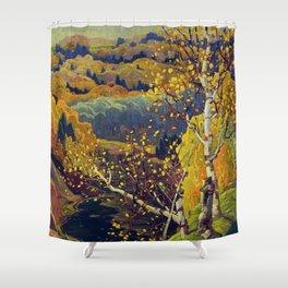 Franklin Carmichael Canadian artist Art Nouveau Post-Impressionism October Gold Shower Curtain