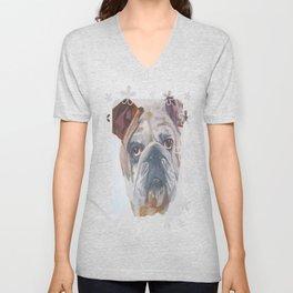 American Bulldog Portrait Vector With Decorative Border Unisex V-Neck