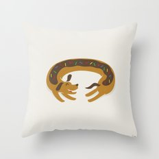 Sprinkled Dognut Throw Pillow