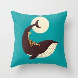The Giraffe & the Whale Throw Pillow