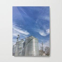 Grain Silo with Blue Sky Metal Print