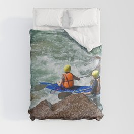 descent on a mountain river kayaking Comforters