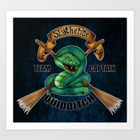 quidditch Art Prints featuring Slytherine quidditch team captain by JanaProject