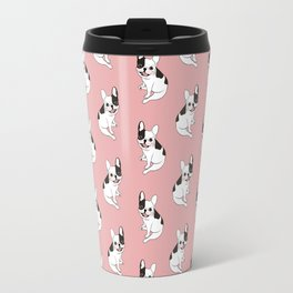 Single hooded pied Frenchie is excited for the playtime Travel Mug
