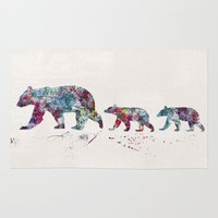 bears Area & Throw Rugs featuring Bears by Watercolorist
