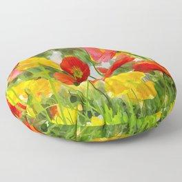 Cute poppies summer meadow watercolor painting Floor Pillow