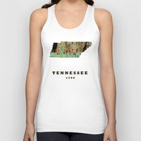 tennessee Tank Tops featuring Tennessee state map modern by bri.buckley