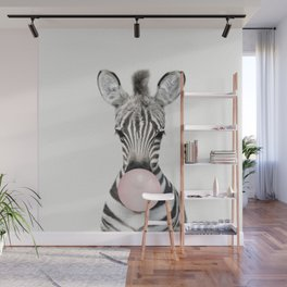Bubble Gum Zebra Wall Mural