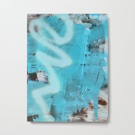 Storms and Tides: an abstract mixed-media piece in blue black and white by Alyssa Hamilton Art Metal Print