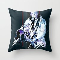 neil gaiman Throw Pillows featuring Neil Armstrong Tribute by Largetosti