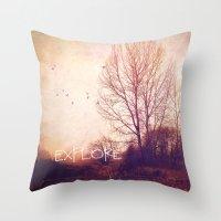 explore Throw Pillows featuring explore by Sylvia Cook Photography