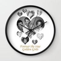 golden girls Wall Clocks featuring The Golden Girls by BeeJL
