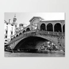 Rialto bridge in black and white Canvas Print