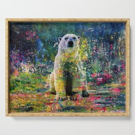 Colorful Polar Bear Watercolor Serving Tray