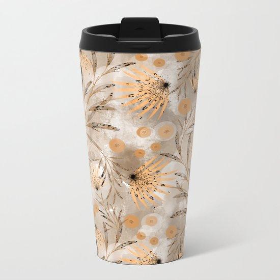 Beige floral pattern. Metal Travel Mug