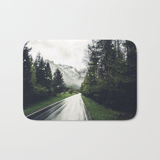 Down the Road - Mountains, Forest, Austria Bath Mat