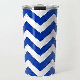 UA blue - blue color -  Zigzag Chevron Pattern Travel Mug