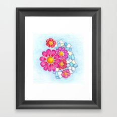 Raspberry Daisies and Icy Blue Crystals Framed Art Print