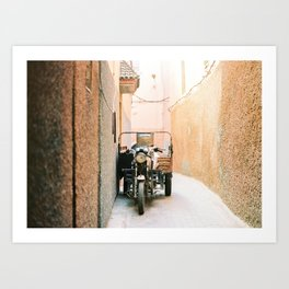 Vintage retro scooter / moped in the streets of magical Marrakech Art Print