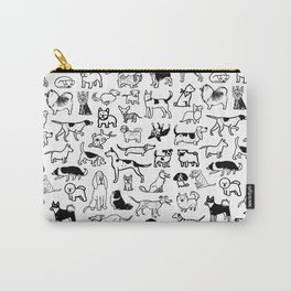 Black and White Dog Drawings | Cute Dog Breeds Pattern Carry-All Pouch