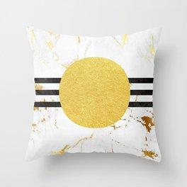 Luxurious golden marble with 3 black stripes Throw Pillow