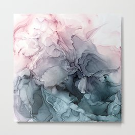 Blush and Paynes Gray Flowing Abstract Reflect Metal Print